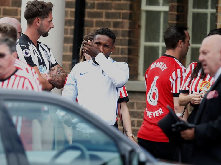 Defoe wore an England short for the funeral