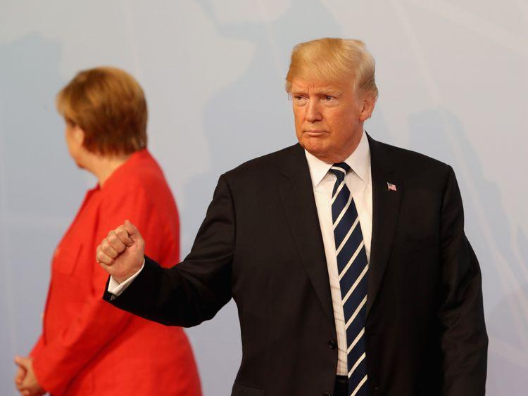 German Chancellor Angela Merkel welcomes U.S President Donald Trump