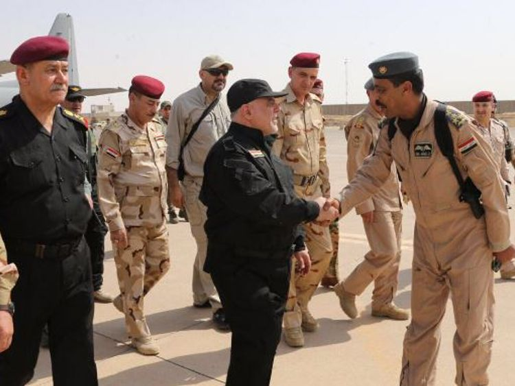 Iraq's PM Haider Al-Abadi arrives in Mosul