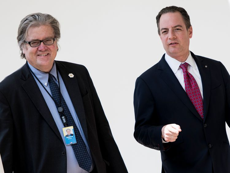 Steve Bannon (left) and White House chief of staff Reince Priebus in April