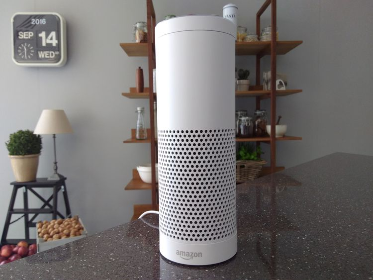 An Amazon Echo device