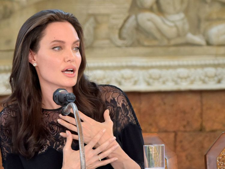Hollywood star Angelina Jolie speaks to media during a press conference at a hotel in Siem Reap on February 18, 2017. Angelina Jolie will unveil her new film on the horrors of the Khmer Rouge era on February 18 at the ancient Angkor Wat temple complex in Cambodia, a country the star shares a deep affinity with through her adopted son Maddox. / AFP / TANG CHHIN SOTHY (Photo credit should read TANG CHHIN SOTHY/AFP/Getty Images)
