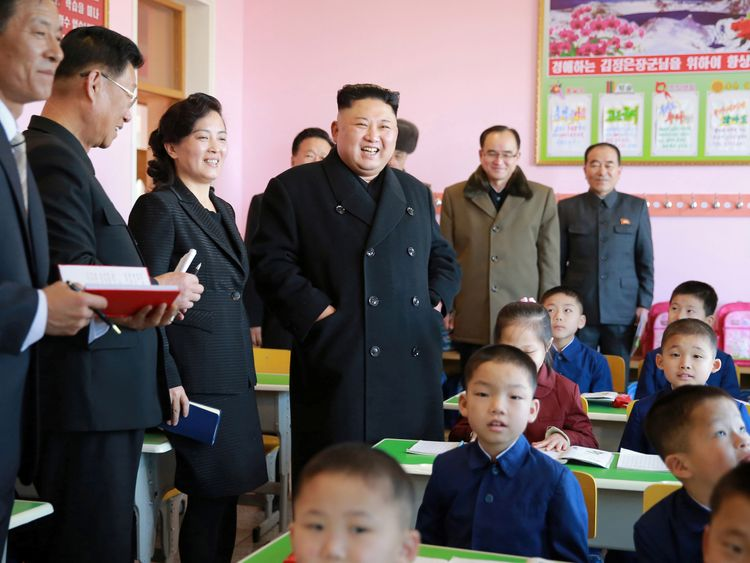 North Korean leader Kim Jong Un visits a school in Pyongyang. File pic