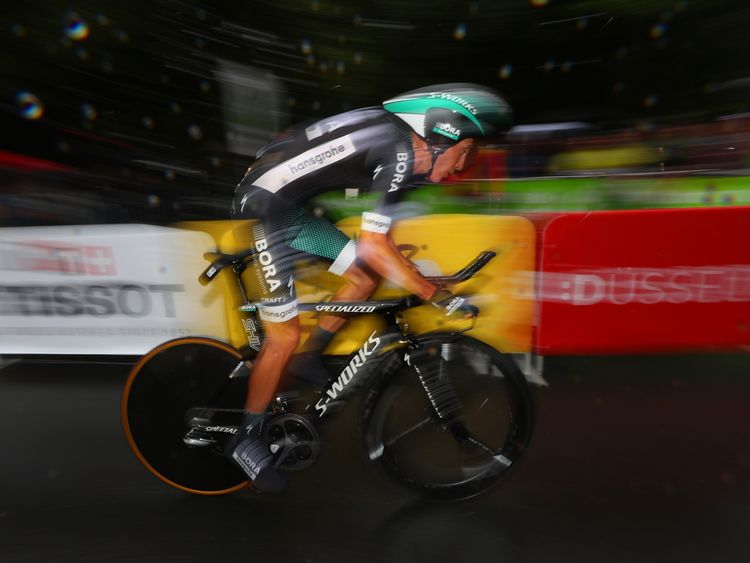 DUESSELDORF, GERMANY - JULY 01: Pawel Poljanski of Poland and Bora-Hansgrohe competes during stage one of Le Tour de France 2017, a 14km individual time trial on July 1, 2017 in Duesseldorf, Germany. (Photo by Chris Graythen/Getty Images)
