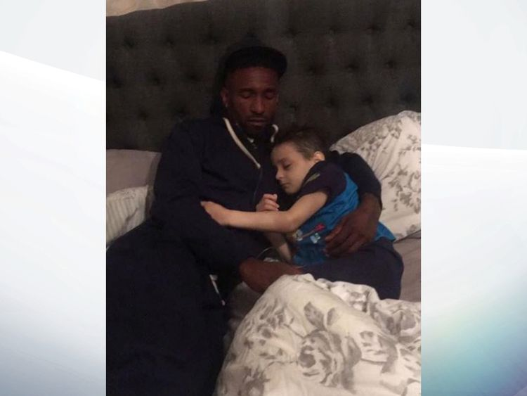 A picture Bradley's family posted on Facebook of Bradley and Jermain Defoe