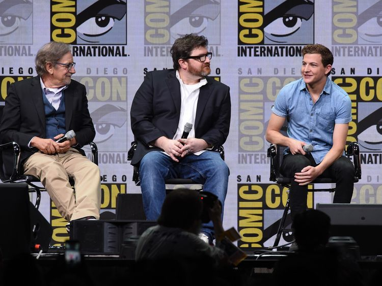 Spielberg, Cline and actor Tye Sheridan speaking at Comic-Con 2017