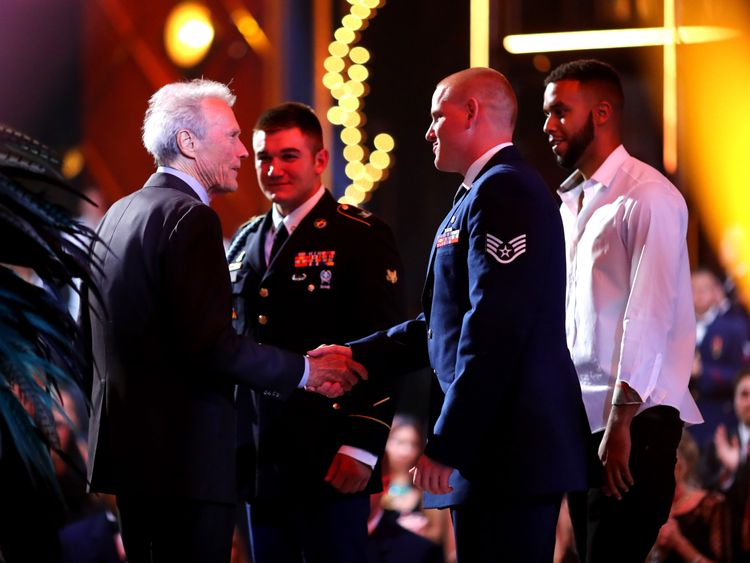 CULVER CITY, CA - JUNE 04: (L-R) Actor/director Clint Eastwood, honorees Specialist Alek Skarlatos, Airman First Class Spencer Stone, and Anthony Sadler attend Spike TV's 10th Annual Guys Choice Awards at Sony Pictures Studios on June 4, 2016 in Culver City, California. (Photo by Mark Davis/Getty Images for Spike TV)