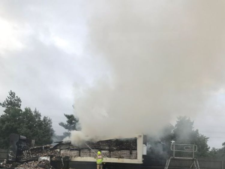 Three of four lanes on the A2 were closed after the fire. Pic: Dean Scott