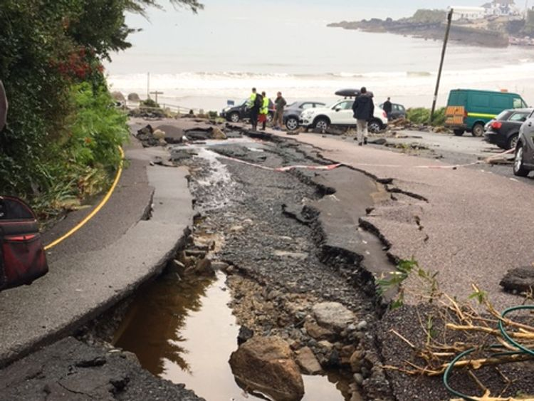 The storm caused substantial structural damage to roads in the village