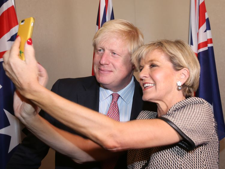 British Foreign Secretary Boris Johnson shares a selfie with his Australian counterpart Julie Bishop