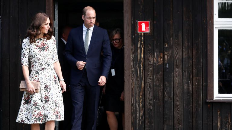 Prince William and Catherine, The Duchess of Cambridge at the museum of former German Nazi concentration camp Stutthof in Sztutowo, Poland