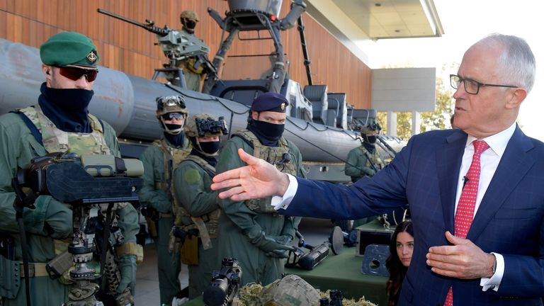 Australian Prime Minister Malcolm Turnbull talks with Special Operations Command soldiers during a visit to the Australian Army's Holsworthy Barracks located in western Sydney, Australia, July 17, 2017. AAP/Brendan Esposito/via REUTERS