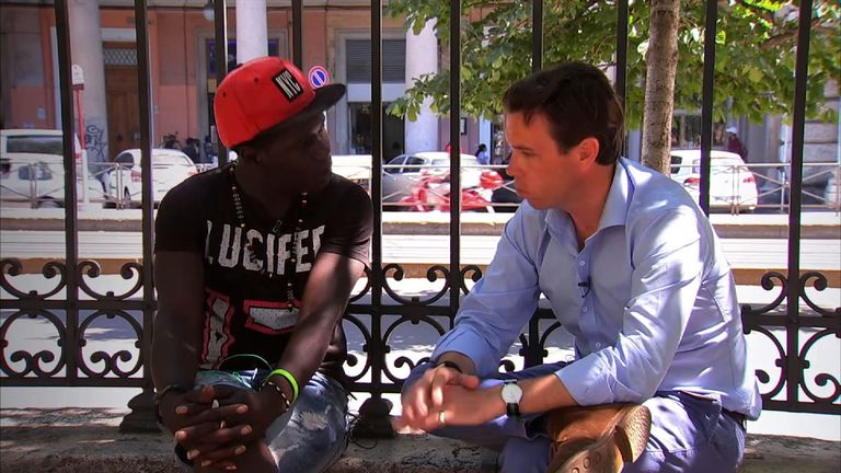 Jack Janko, a 24-year-old migrant from Senegal, speaks to Mark Stone in Italy.