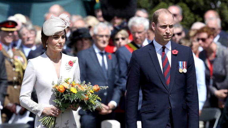 The Duke and Duchess of Cambridge during the ceremony in Ypres