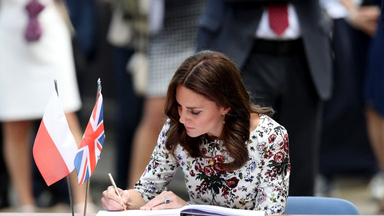 Catherine, Duchess of Cambridge at the Stutthof concentration camp