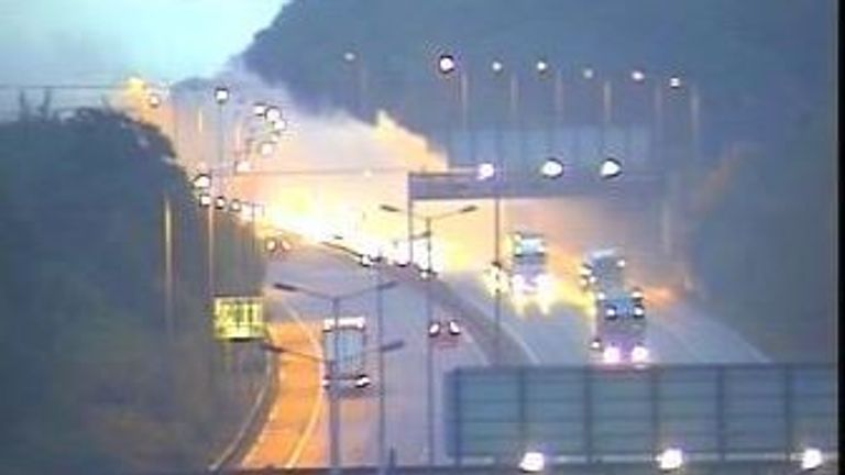 Three of four lanes were closed as fire crews were dispatched to the scene
