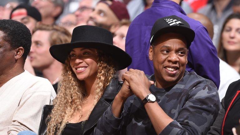 Beyonce and Rapper, Jay-Z attend the Oklahoma City Thunder game against the Los Angeles Clippers on March 2, 2016