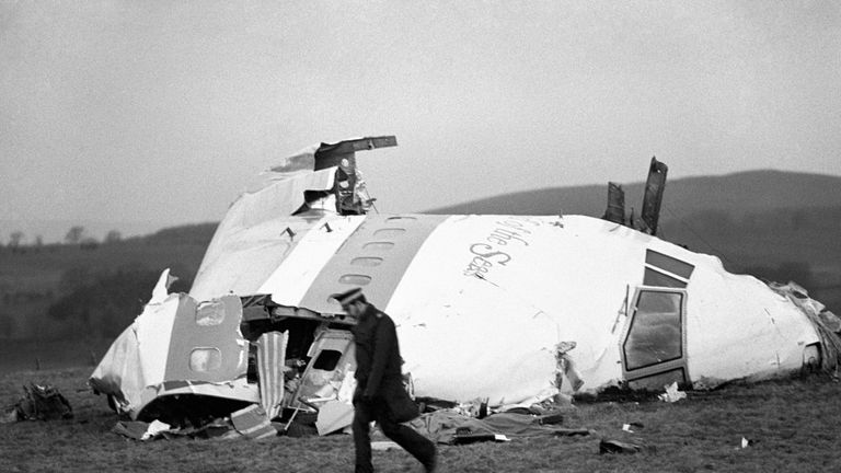 The wrecked nose section of the Pan-Am Boeing 747 lies in a Scottish field at Lockerbie, near Dumfries