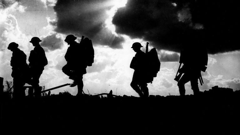British soldiers of the 8th Battalion, East Yorkshire Regiment going up to the line. Pic: Granger/REX/Shutterstock