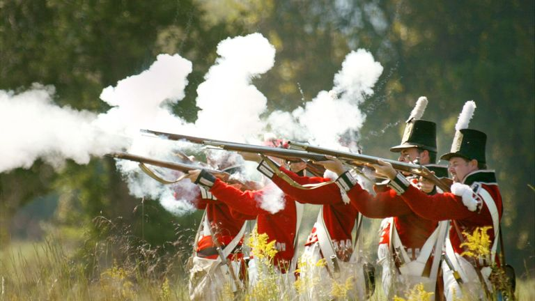 A reenactment of British soldiers fighting the US in the War of 1812. Productivity has not been so bad for so long since.