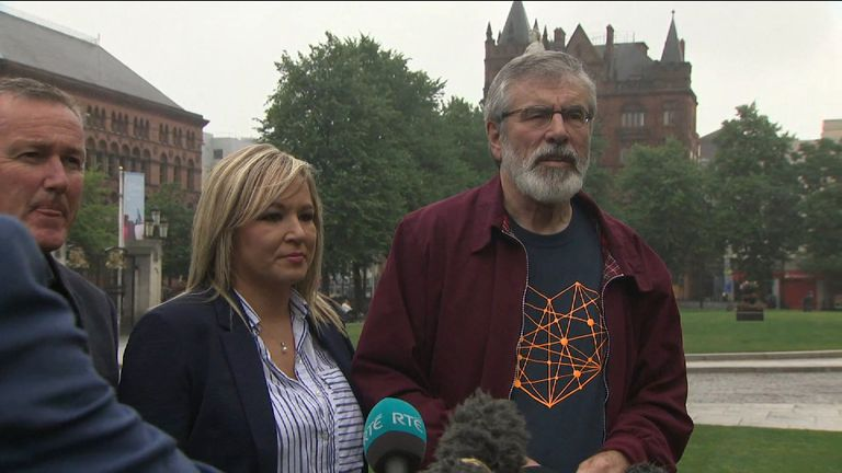Sinn Fein's Michelle O'Neill and Gerry Adams give an update on power-sharing talks