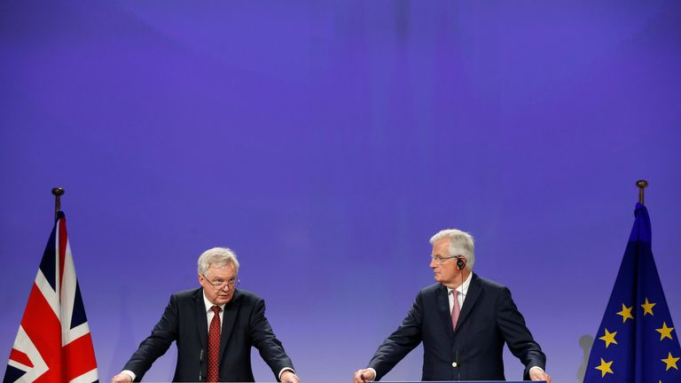David Davis and Michel Barnier hold a joint news conference