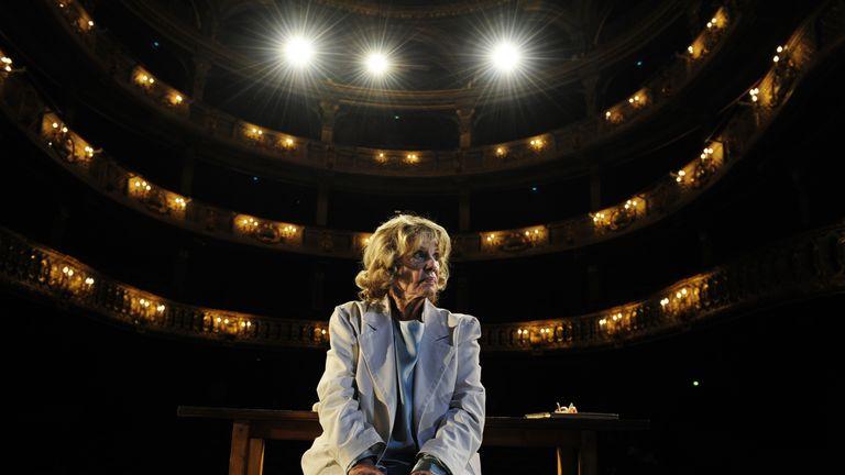 French actress Jeanne Moreau performs in a rehearsal of the play La Guerre des Fils de Lumiere contre les fils des tenebres