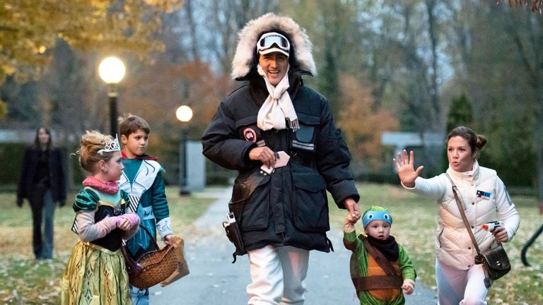 Justin Trudeau, dressed as Han Solo, with his family