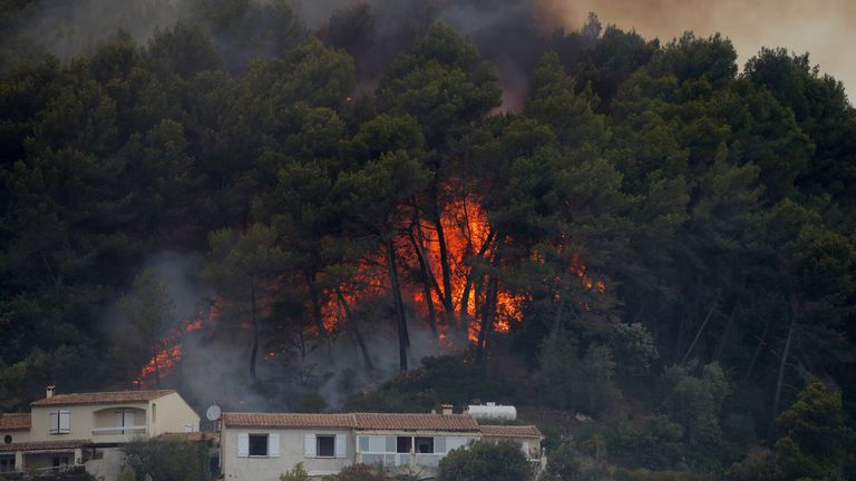 Flames from a burning wildfire are seen near homes in Carros, near Nice
