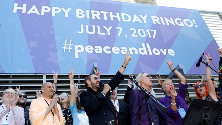 "Celebraties joined Ringo on his birthday to say ""peace and love"""