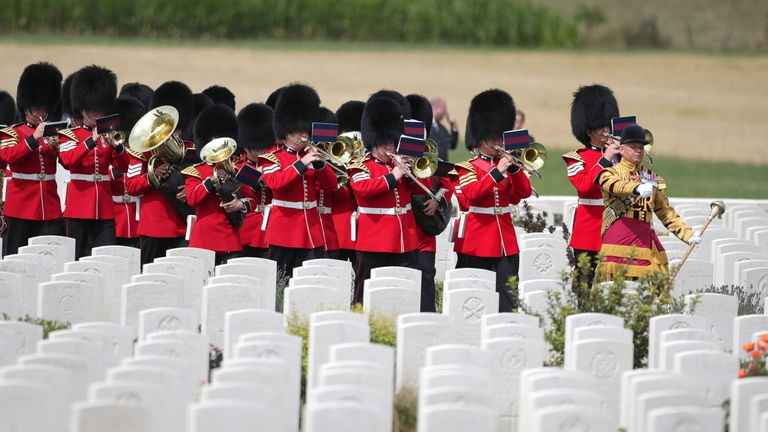 A military band playing at the Tyne Cot Commonwealth War Graves Cemetery in Ypres, Belgium