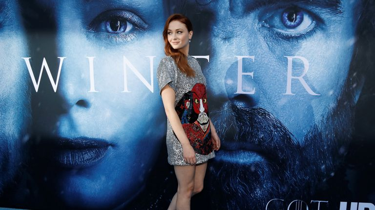 Sophie Turner, who plays Sansa Stark, at the Game of Thrones season seven premiere in Los Angeles