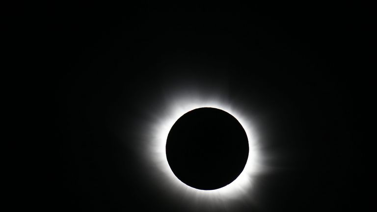 In a total solar eclipse the Sun is completely covered by the Moon