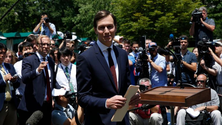 Jared Kushner leaves after making a statement at the White House after being interviewed by the Senate Intelligence Committee