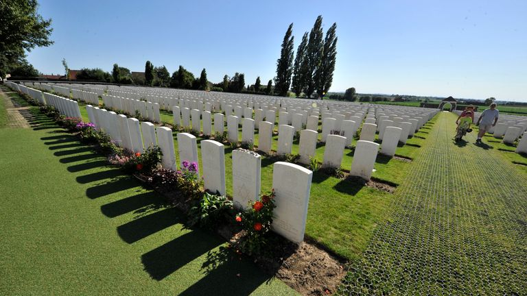 At the tyne cot cemetery lie the bodies of soldiers of the Commonwealth army recovered from battlefields of Passchendaele