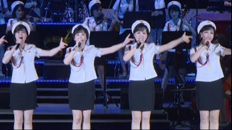 Members of the all-female Moranbong Band who performed during the celebratory concert