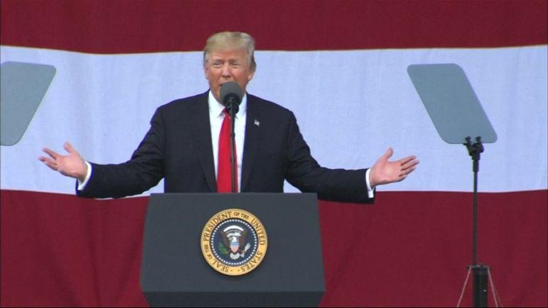 President Trump addresses a boy scout jamboree in West Virginia