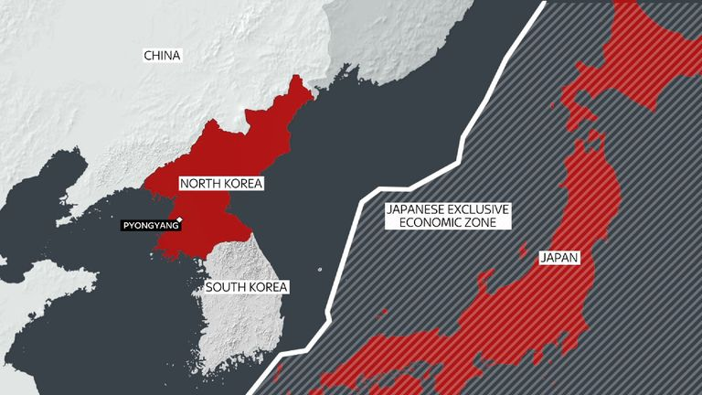 The missile landed in Japan's exclusive economic zone