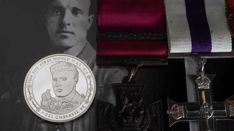 A coin made to commemorate Captain Noel Godfrey Chavasse