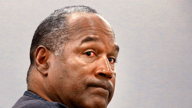 O.J. Simpson sits during an evidentiary hearing in Clark County District Court in Las Vegas, Nevada, U.S. on May 16, 2013
