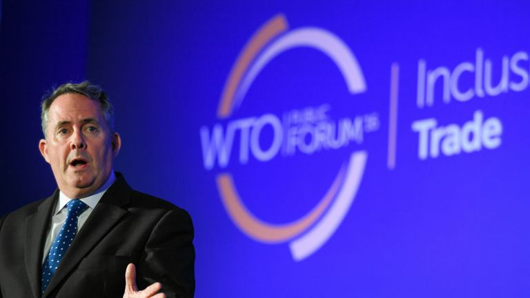 Liam Fox speaks at a WTO public forum in 2016