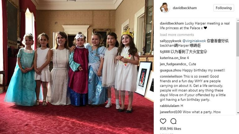 Beckham's second Instagram post from the party, showing Harper dressed as a princess