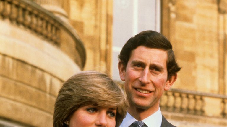 Charles and Diana after announcing their engagement