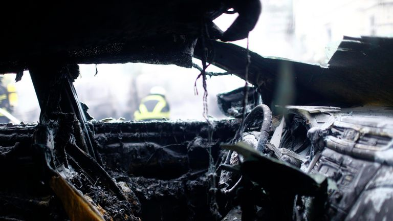The interior of a burnt out car