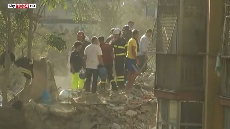 At least six people are feared trapped in the tower block in Torre Annunziata. Pic: Sky TG24