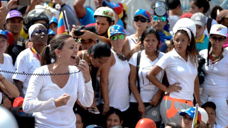 Venezuelan opposition Maria Corina Machado at a protest march in May