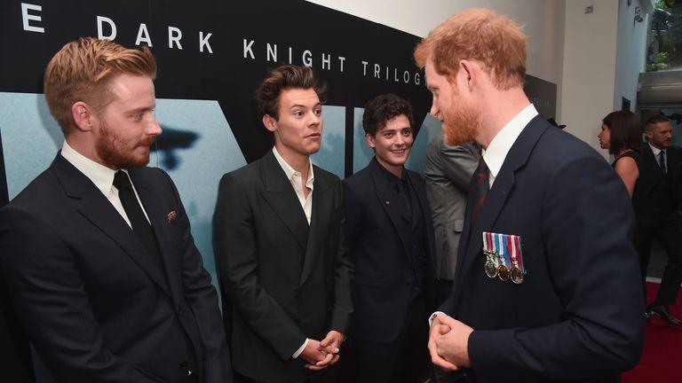 Prince Harry met veterans of Dunkirk before the film's red carpet premier