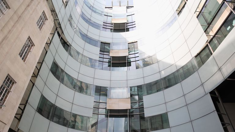 A general view of Broadcasting House, the headquarters of the BBC on May 12, 2016 in London, England