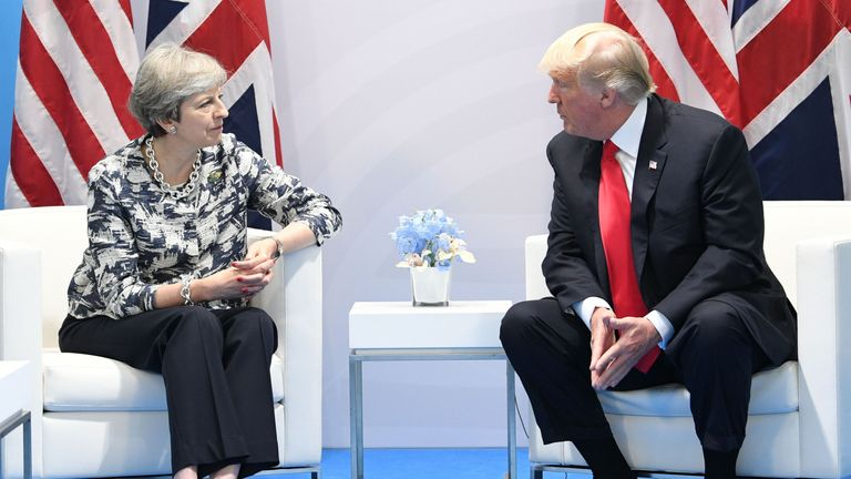 Prime Minister Theresa May holds talks with US President Donald Trump