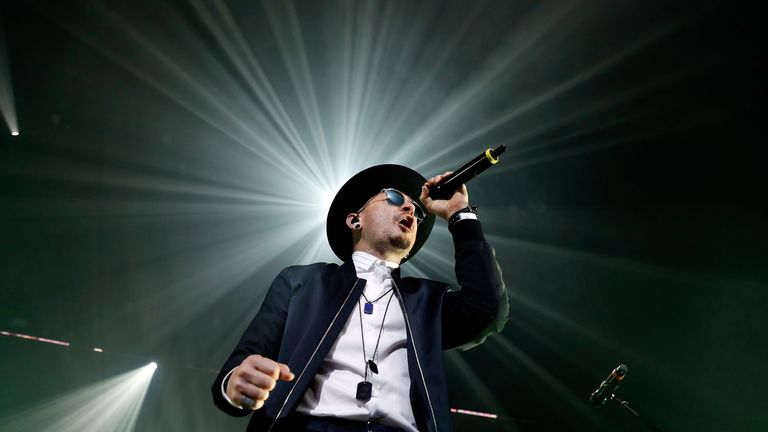 Chester Bennington of Linkin Park performs during CBS RADIO's two-night 'SPF' concert